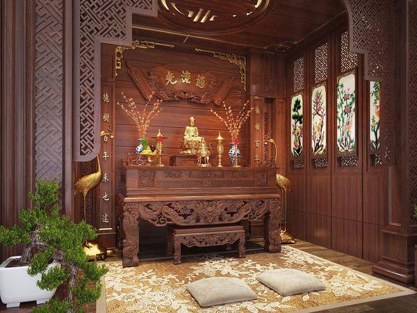 Phòng thờ đẹp cổ điển 01