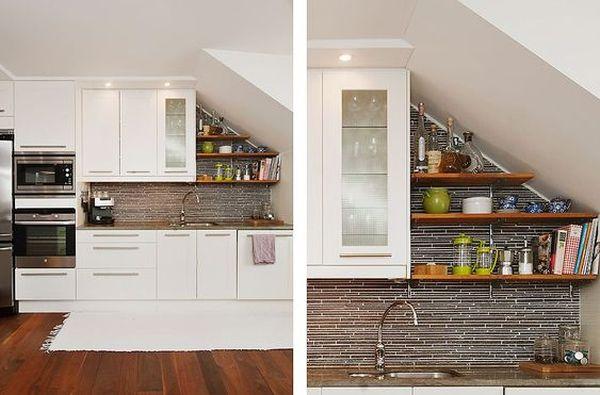 Thiết kế bếp dưới gầm cầu thang đơn giản để tăng sự thông thoáng cho bếp