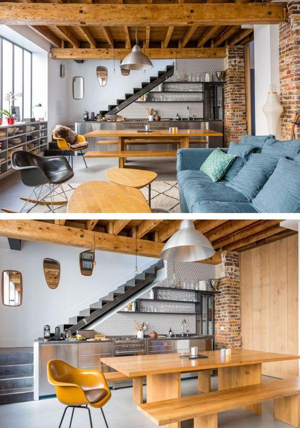 Thiết kế bếp gần cầu thang - bố trí tủ bếp