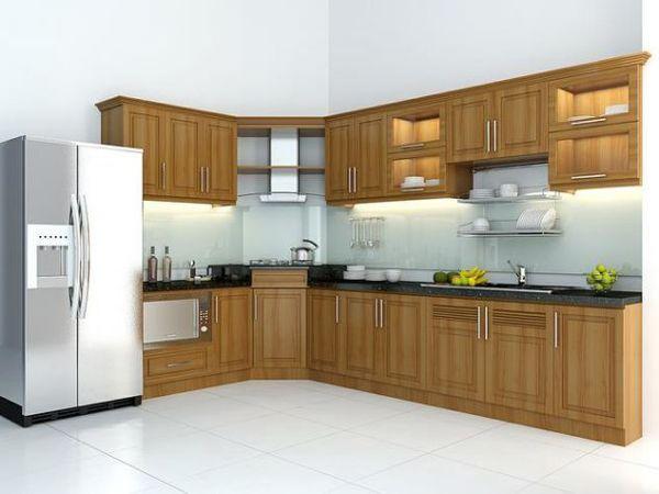 Thiết kế bếp góc chéo gỗ sồi - 12