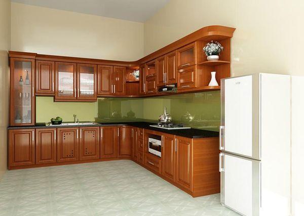 Thiết kế bếp góc xéo gỗ tự nhiên 03