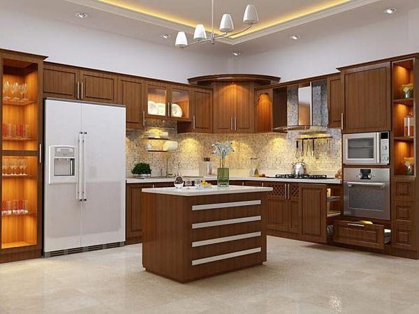 Thiết kế bếp góc xéo gỗ tự nhiên óc chó 09