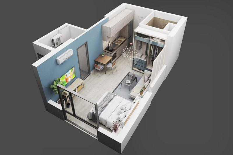 Thiết kế căn hộ studio 30m2 4