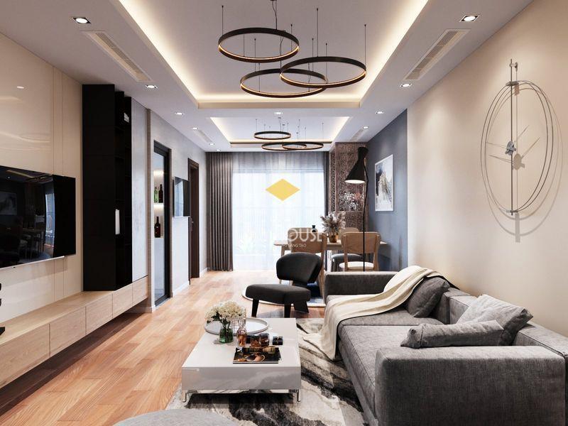 Thiết kế nội thất chung cư Royal City - Phòng khách bếp liên thông hiện đại