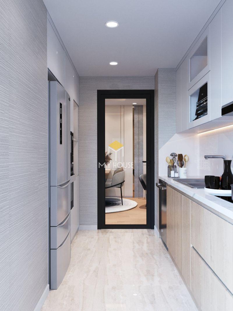 Thiết kế nội thất chung cư Royal City - tủ bếp chữ I trong phòng bếp nhỏ hẹp