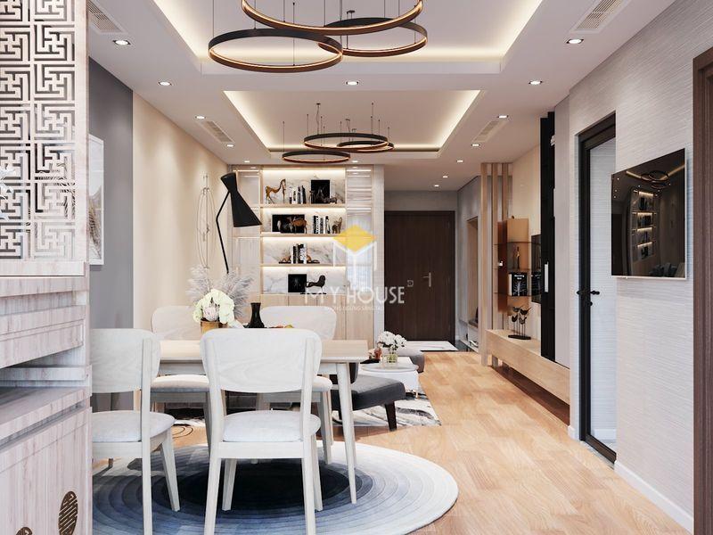 Thiết kế nội thất chung cư Royal City - Phòng khách bếp