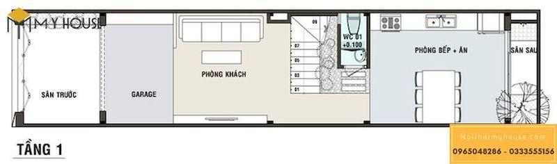 Thiết kế nội thất nhà ống 5m - Mặt tiền tầng 01