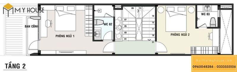 Thiết kế nội thất nhà ống 5m - Mặt tiền tầng 02