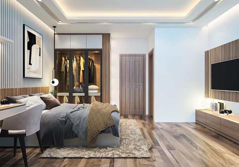 Mẫu thiết kế phòng ngủ có nhà vệ sinh hiện đại cho biệt thự