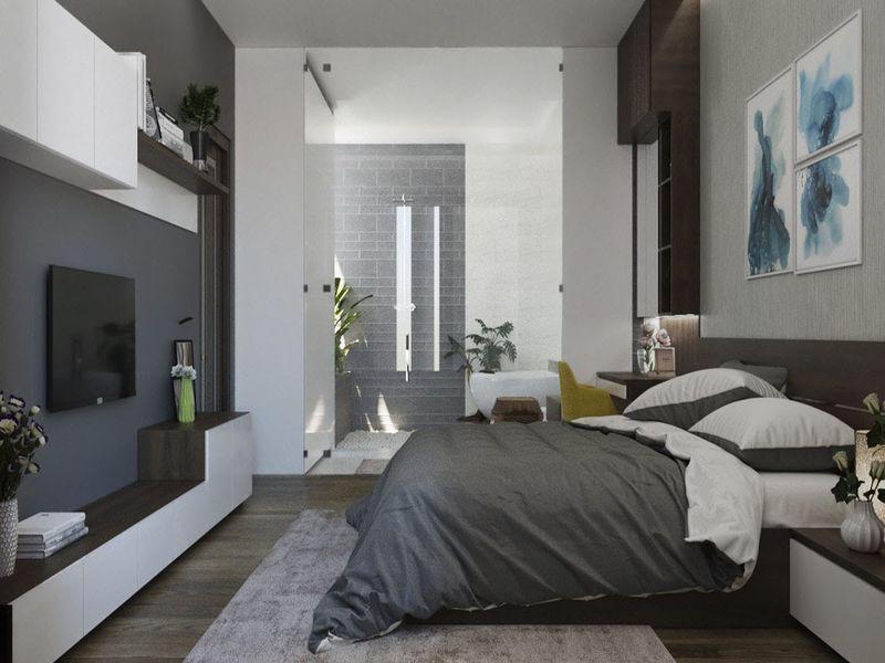 Mẫu thiết kế phòng ngủ có nhà vệ sinh hợp phong thủy