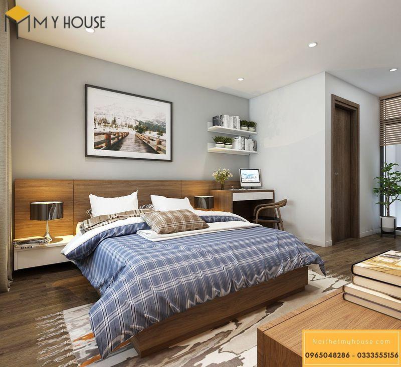 Mẫu thiết kế phòng ngủ có nhà vệ sinh - chất liệu gỗ óc chó