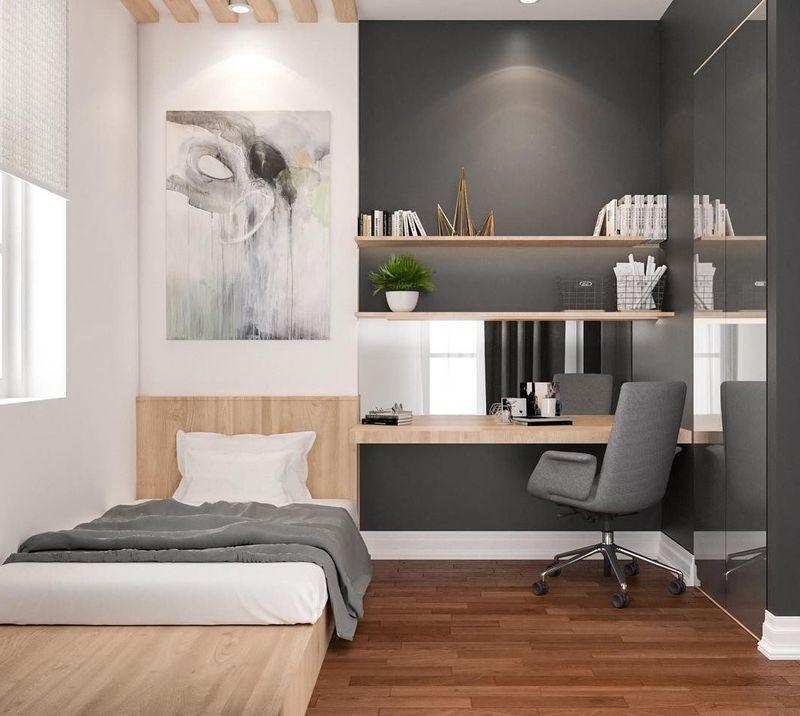Thiết kế phòng ngủ nhỏ 6m2 tận dụng chiều cao
