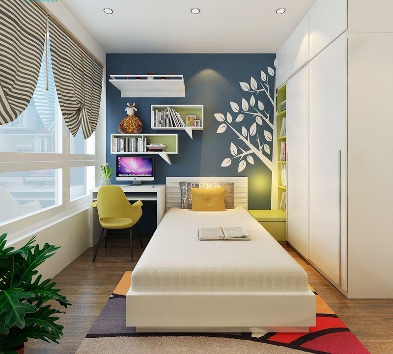 Thiết kế phòng ngủ nhỏ 6m2 tận dụng chiều cao(kệ trang trí treo tường)