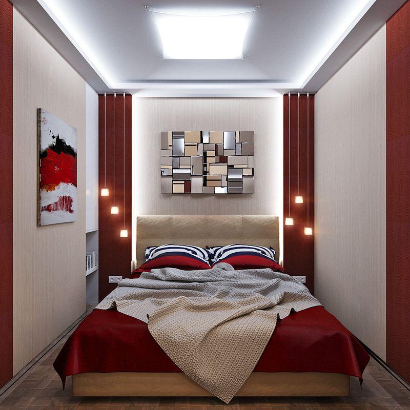 Thiết kế phòng ngủ nhỏ 6m2 màu đỏ
