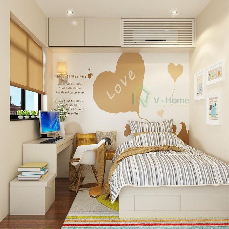 Thiết kế phòng ngủ nhỏ 6m2 đơn giản với nội thất gỗ công nghiệp