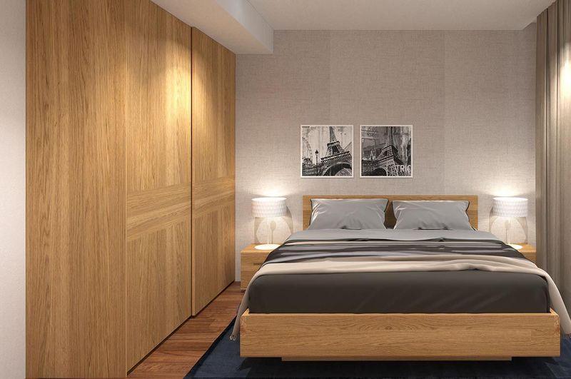 Mẫu thiết kế phòng ngủ nhỏ 6m2 gỗ công nghiệp cho chung cư