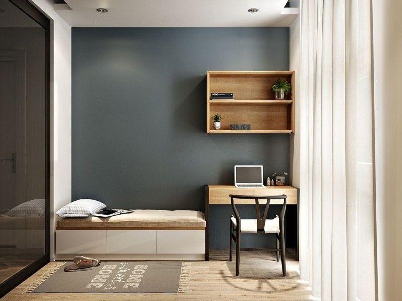 Mẫu thiết kế phòng ngủ nhỏ đẹp màu xám