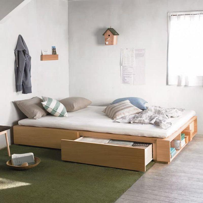 Thiết kế phòng ngủ nhỏ 6m2 sử dụng giường hộp có ngăn kéo để chứa đồ nhiều hơn