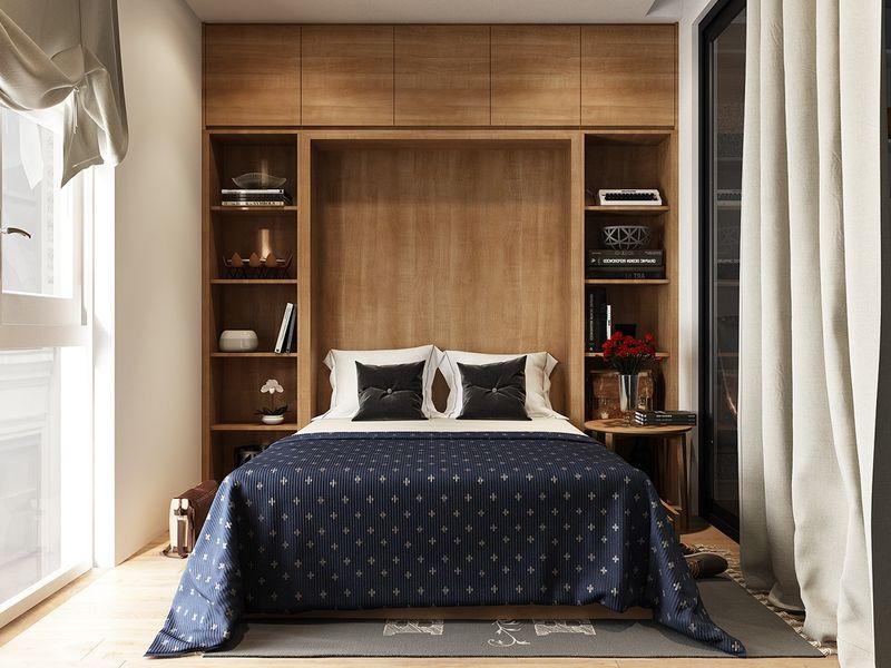 Thiết kế phòng ngủ nhỏ 6m2 sử dụng giường ngủ thông minh