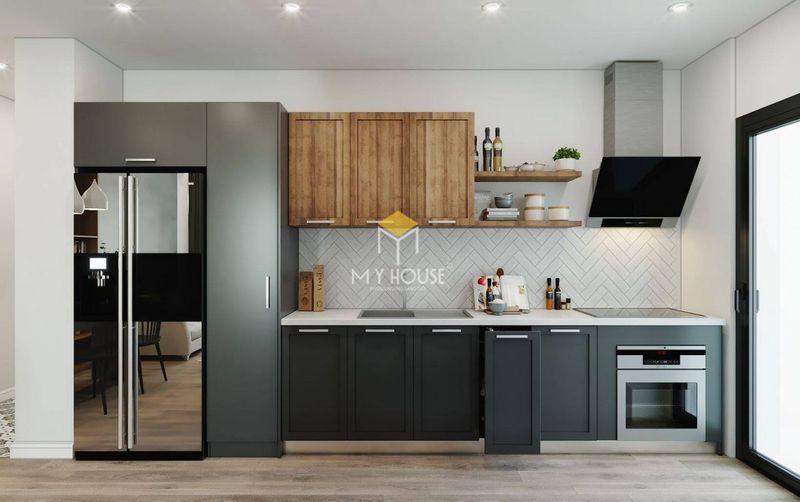 Thiết kế tủ bếp chung cư đơn giản, đa năng