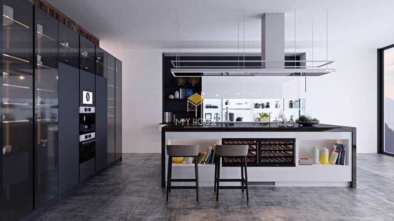 Tủ bếp thông minh kết hợp bàn đảo bếp