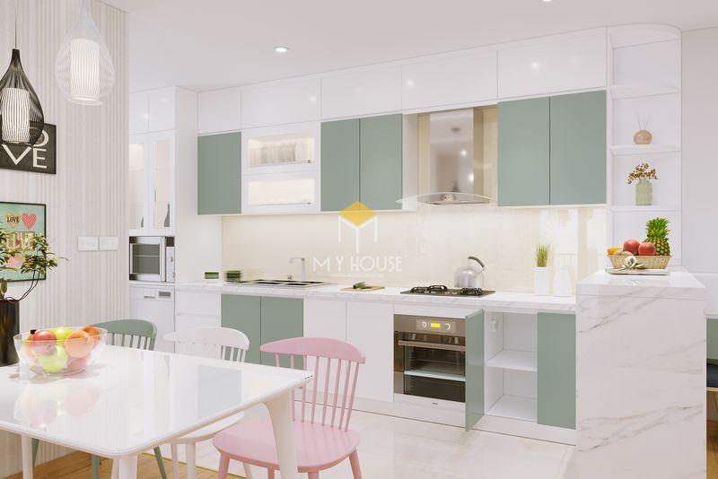 Thiết kế tủ bếp thông minh màu trắng cho căn hộ chung cư