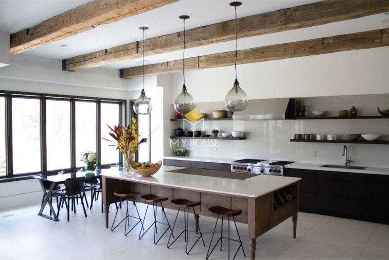 Thiết kế tủ bếp thông minh đơn giản với các kệ để đồ đơn giản