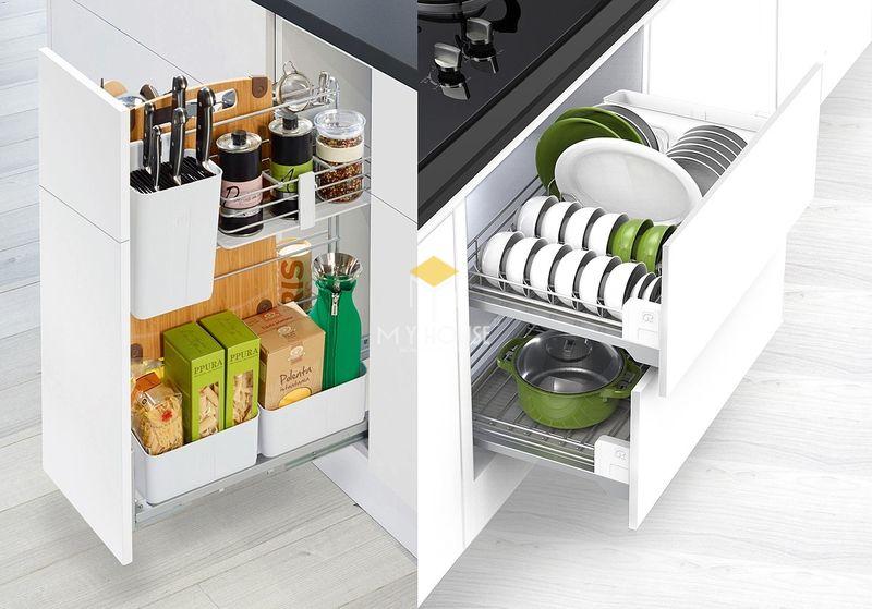 Thiết kế tủ bếp thông minh với các phụ kiện tủ bếp giá rẻ