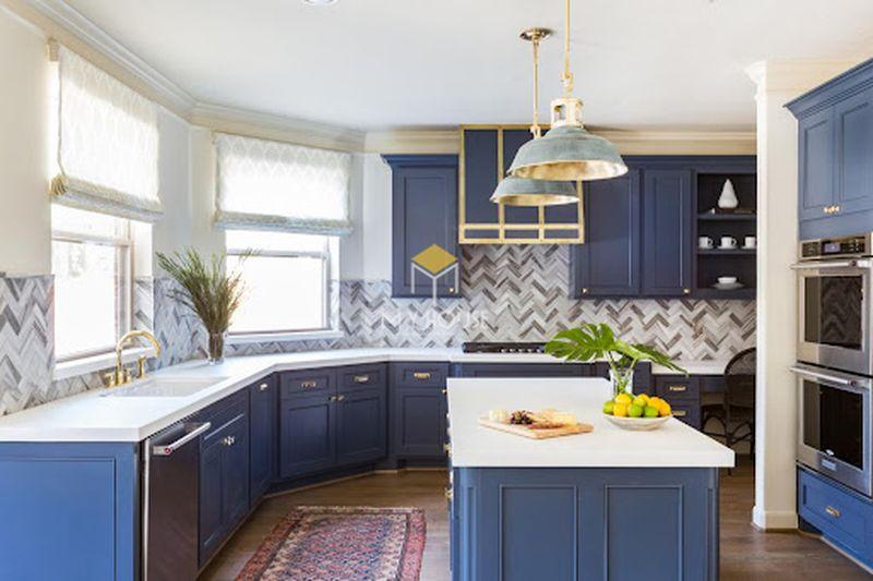 Thiết kế tủ bếp thông minh phong cách tân cổ điển đơn giản màu xanh
