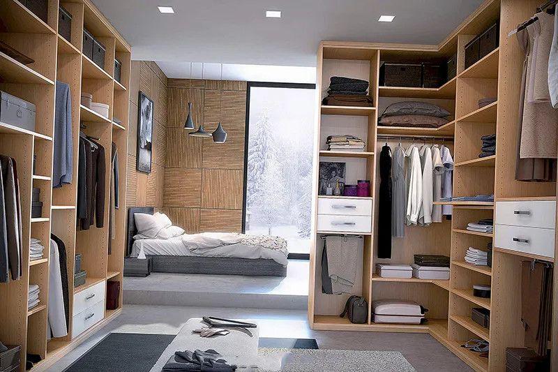 Mẫu tủ quần áo đẹp không cánh đặt trong phòng ngủ