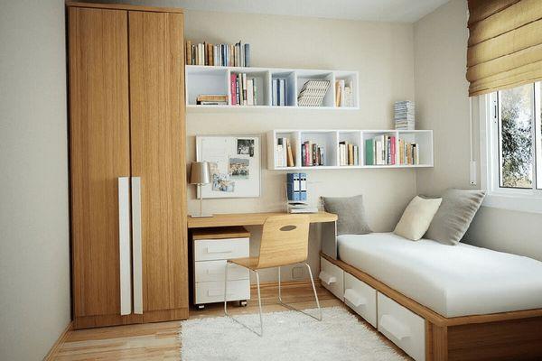 Cách bố trí phòng ngủ 12m2 - màu sắc phòng ngủ đơn giản, ưu tiên màu sáng