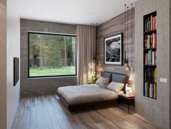 Cách bố trí phòng ngủ 12m2 cho biệt thự với cửa sổ lớn thông thoáng