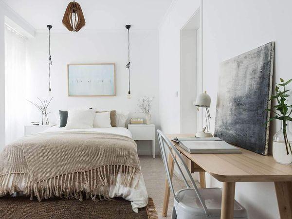Mẫu nội thất phòng ngủ 12m2 màu trắng