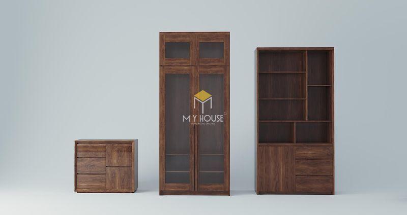 Công ty sản xuất nội thất - Bộ tủ kệ gỗ óc chó