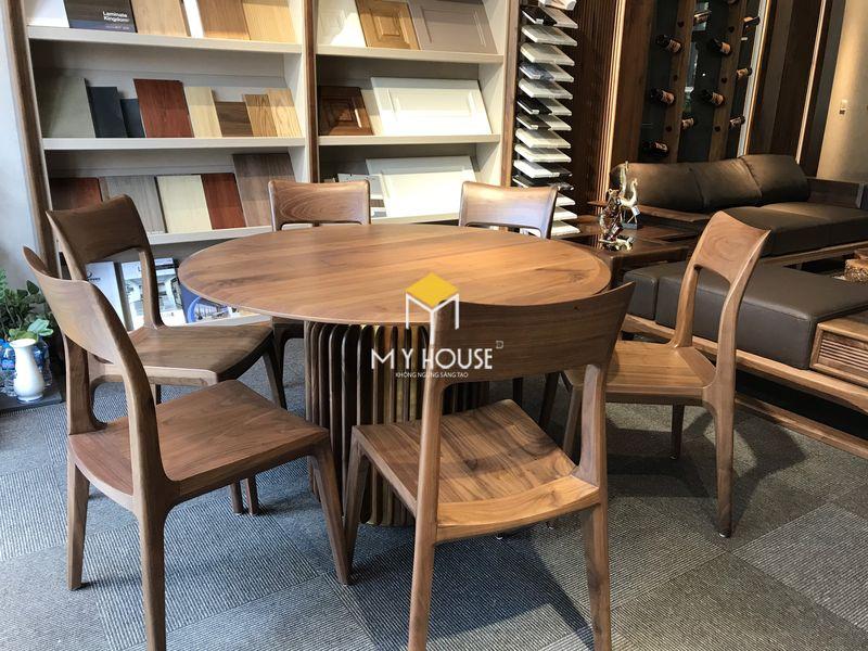 Công ty sản xuất nội thất - Bộ bàn ghế tròn gỗ óc chó