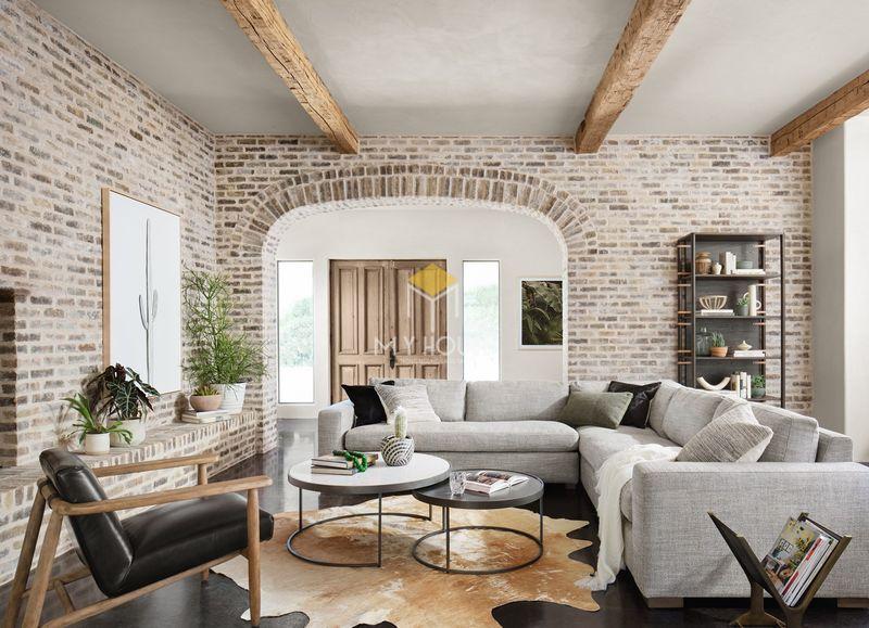 Mẫu thiết kế nội thất phòng khách nhà chữ L đẹp