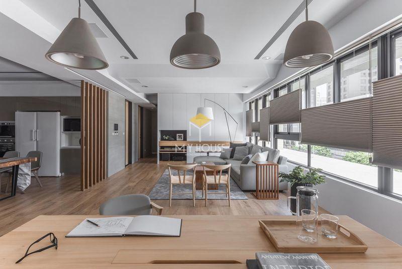 Bố trí nội thất phòng khách nhà chữ L đẹp 2021
