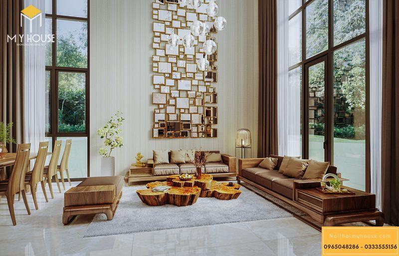 Phòng khách biệt thự hiện đại gỗ óc chó, cao cấp