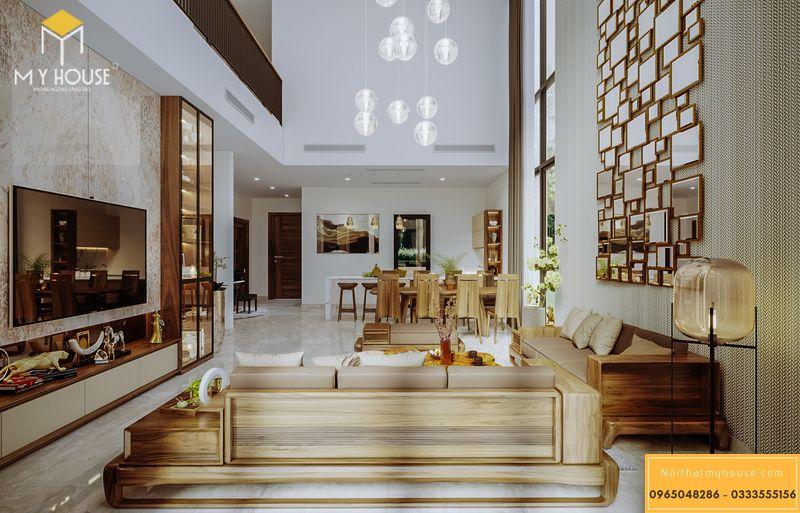 Mẫu thiết kế nội thất phòng khách gỗ óc chó biệt thự The Park