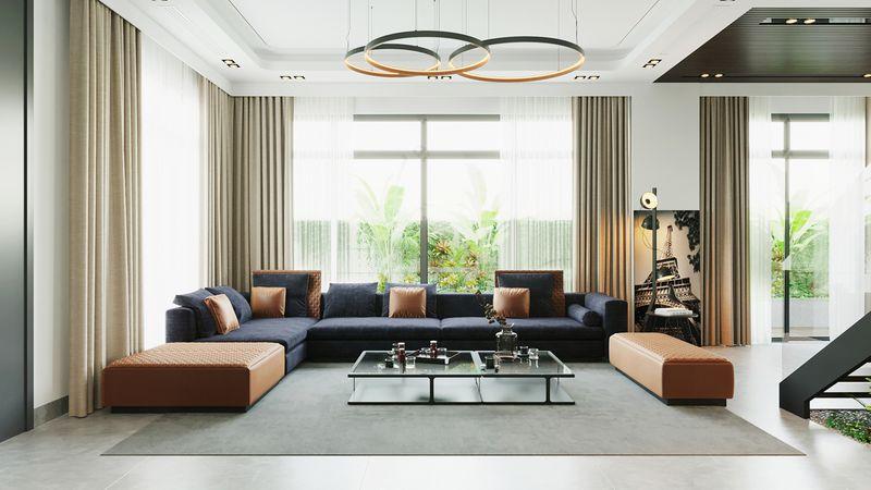 Phòng khách biệt thự hiện đại, đơn giản