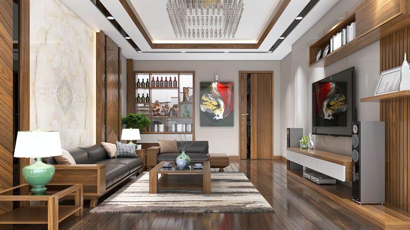 Mẫu phòng khách biệt thự song lập gỗ tự nhiên