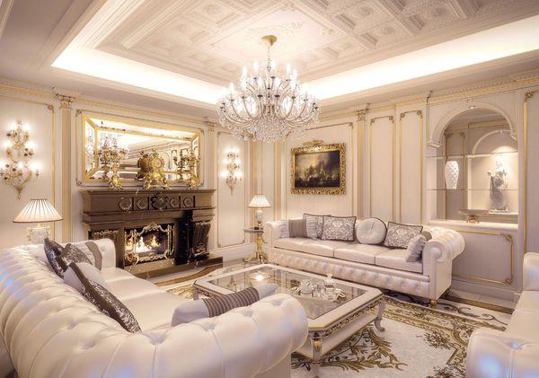 Mẫu phòng khách biệt thự cổ điển đơn giản, sang trọng