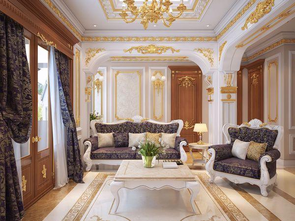 Chất liệu gỗ tự nhiên dễ dàng nổi bật trong không gian phòng khách cổ điển