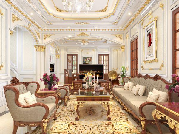 Mẫu phòng khách cổ điển màu trắng