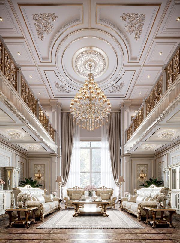 Đặc điểm của phòng khách cổ điển - Trang trí với đèn chùm sang trọng