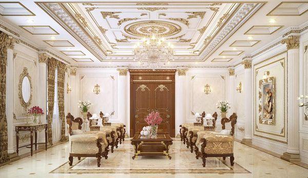 Phòng khách cổ điển sang trọng với các họa tiết trang trí