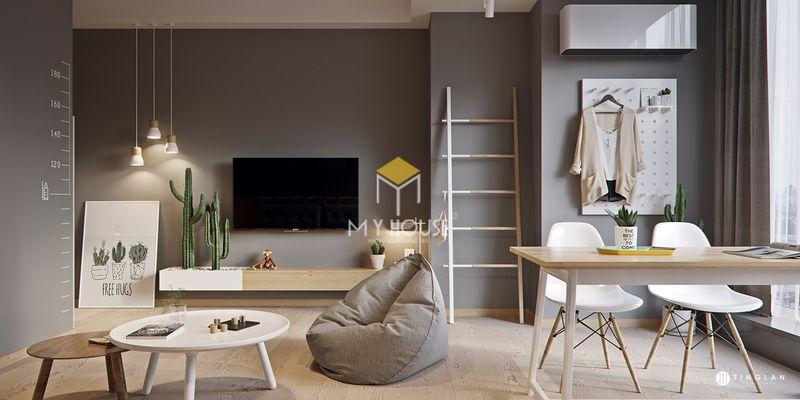 Trang trí phòng khách không gian mở phong cách hiện đại, tối giản