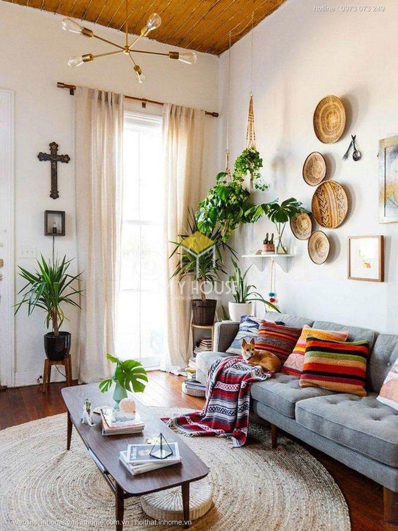 ý tưởng trang trí phòng khách với cây xanh trang trí