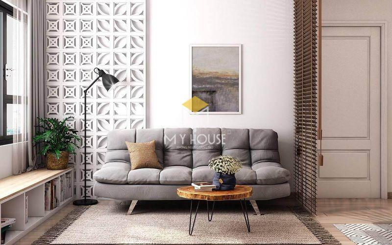 Trang trí phòng khách không gian mở với màu nền sáng