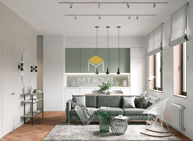 Trang trí phòng khách không gian mở với tone màu trắng